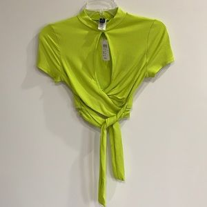 Windsor Lime Green Front Tie Key Hole Crop Top